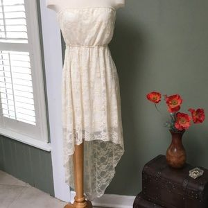 Vintage Off-White Lace Midi Dress with Train (XL)